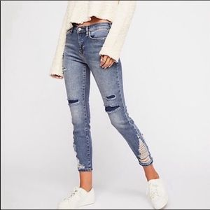 We The Free mid rise distressed skinny jeans